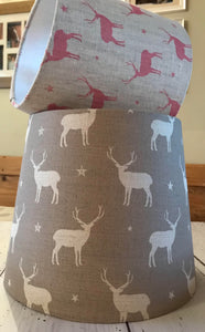 Stunning tapered Lampshade in Peony and Sage Stag in Truffle