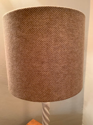 Stunning, handmade lampshade in natural coloured Herringbone  Tweed