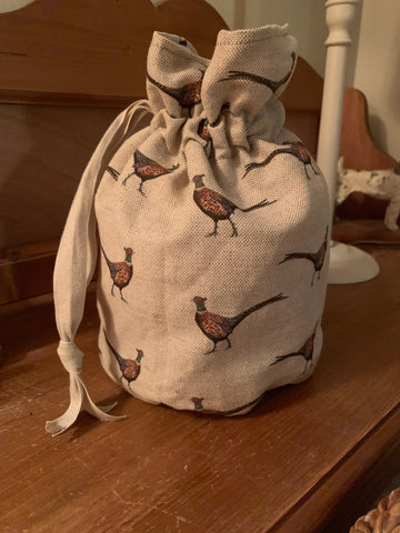 Handmade drawstring wash bag in Flohr &Co Pheasant  waterproof lining