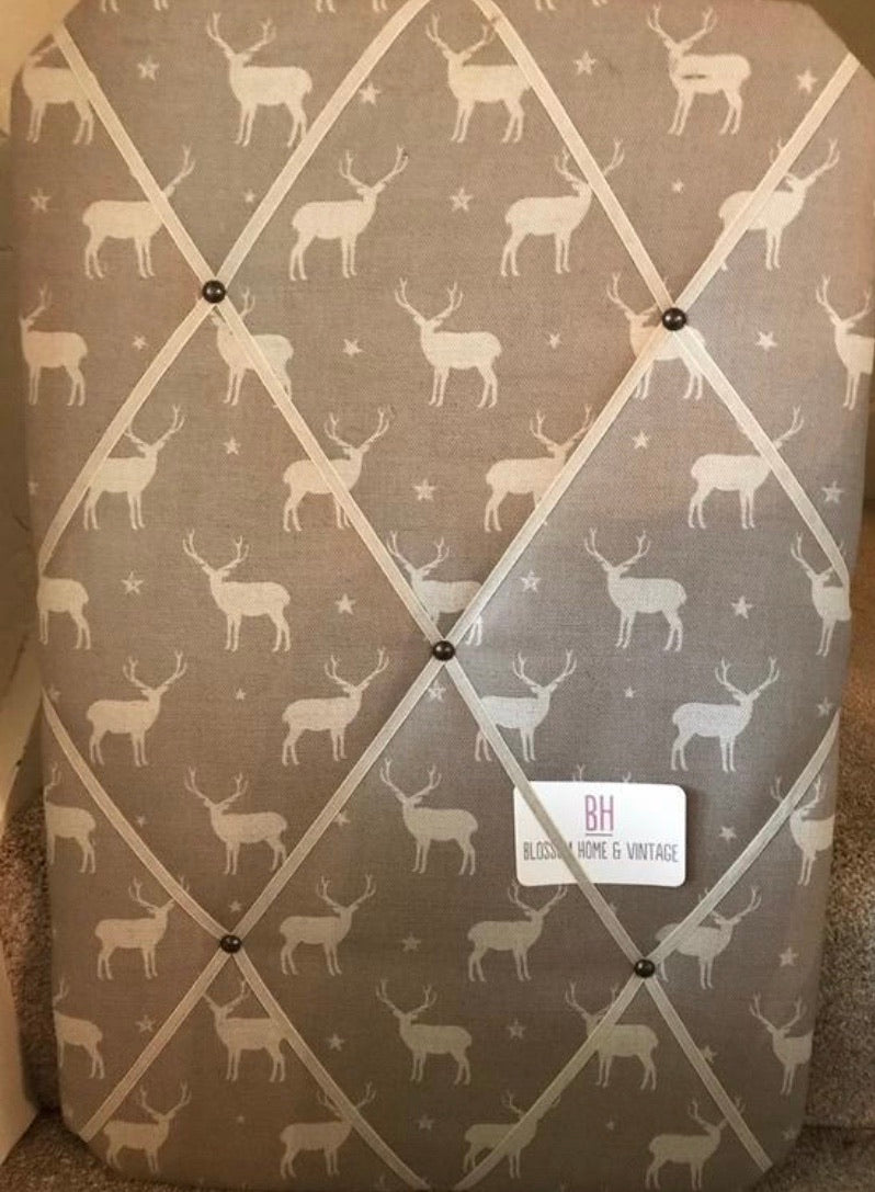 Memo Board in Peony and Sage Truffle Stags