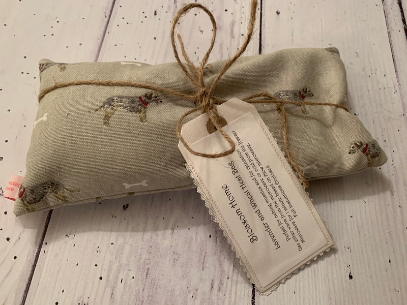 Wheat and Lavender Heat pack. In Sophie Allport Terrier