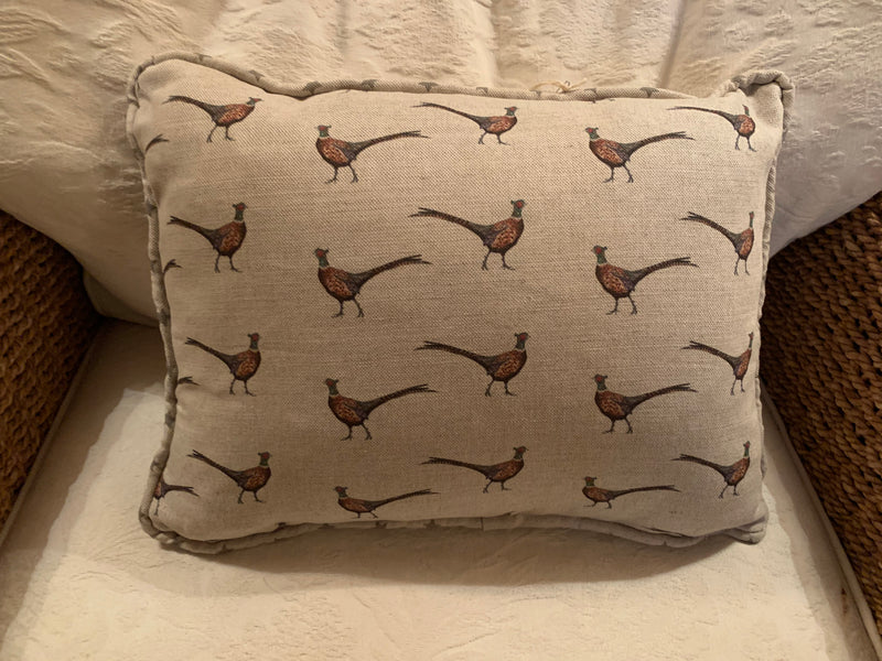 Handmade oblong Cushion in Pheasant by Flohr and Co