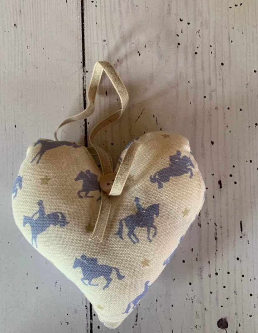 Handmade small lavender infused  heart in Robin Roadnight Wedgwood Horses