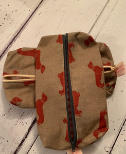 Handmade pencil case in Red Dachshund by Emily Bond