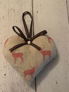 Handmade lavender infused padded heart in Peony and Sage Stag in Cherry