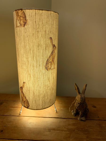 Beautiful Cylinder lamp , in Mr Hare by Peony and Sage