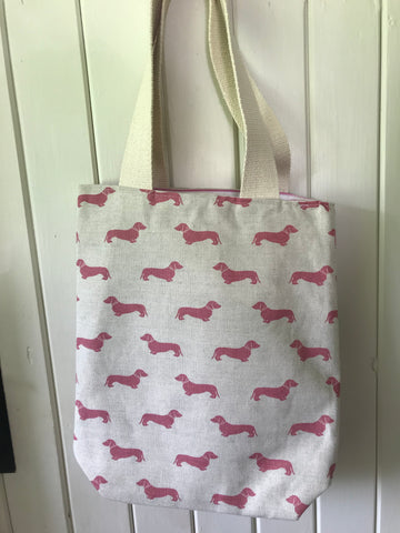 Handmade reversible bag with canvas straps In Emily Bond Pink Dachshund