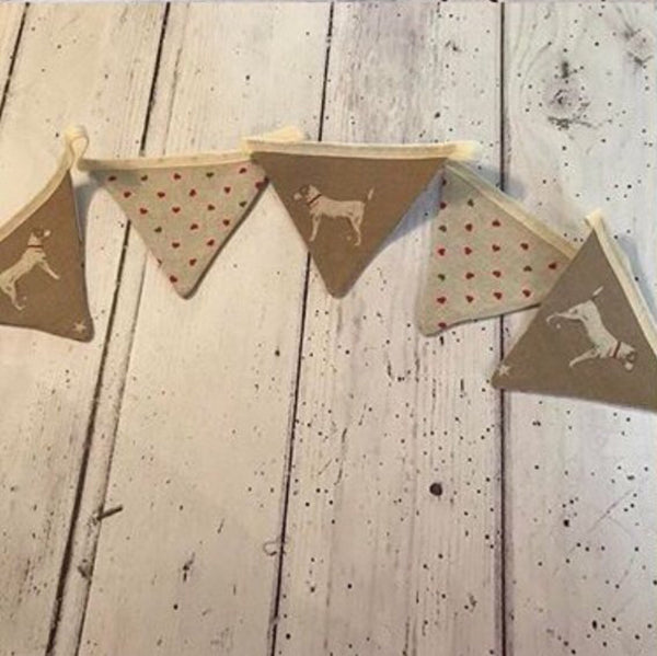 Handmade bunting in Peony and Sage Jack All star