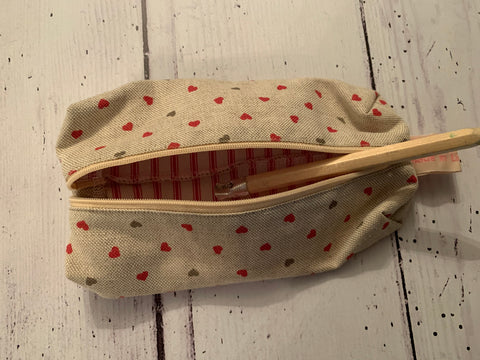 Handmade pencil case in Hearts by Olive and Daisy