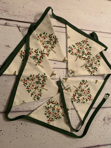 Handmade Christmas Bunting  in Sophie Allport 'partridge in a pear tree ' 7 flags