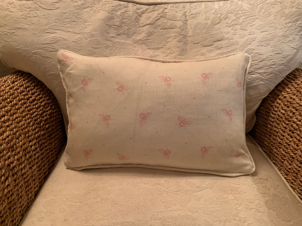 Beautiful piped oblong cushion in Busy Bees by Peony and Sage