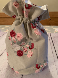 Handmade drawstring wash bag  in Sophie Allport 'Peony' with waterproof lining