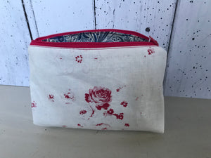 Handmade make up bag In Cabbages and Roses Podge with a liberty lining