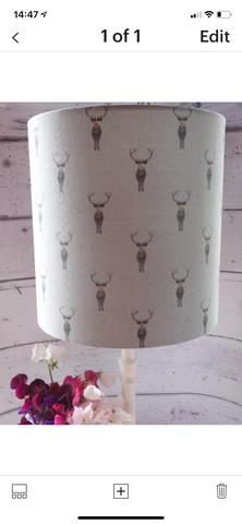 30cm diameter lampshade in Sophie Allport Stags