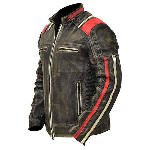 Cafe Racer Vintage Retro Distressed Black Cowhide Leather Biker Jacket