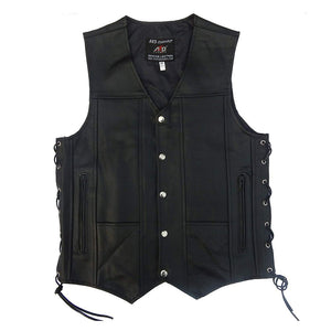 Men's Black Genuine Leather 10 Pockets Motorcycle Biker Vest