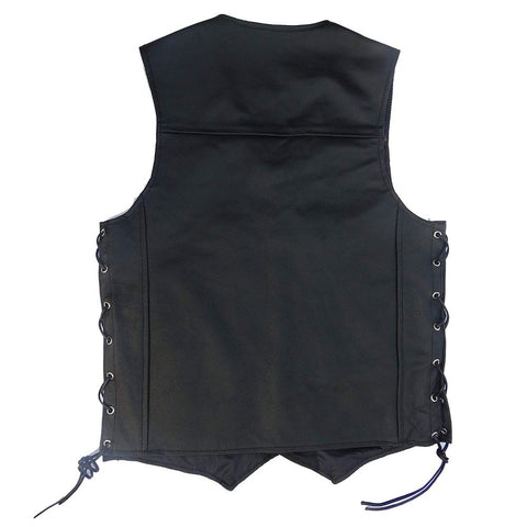 Image of Men's Black Genuine Leather 10 Pockets Motorcycle Biker Vest