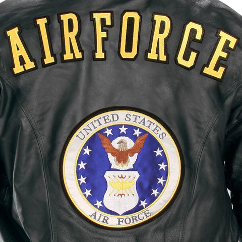 Image of USA Leather Men's 'Airforce' Black Leather Jacket