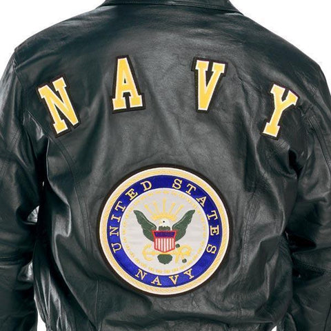 Image of USA Leather Men's 'Navy' Black Leather Jacket