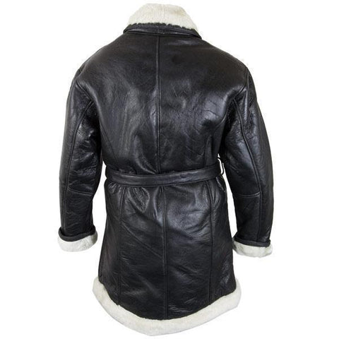 Image of Ladies Lucky Leather 111S Black Leather Long Shearling Coat with Belt