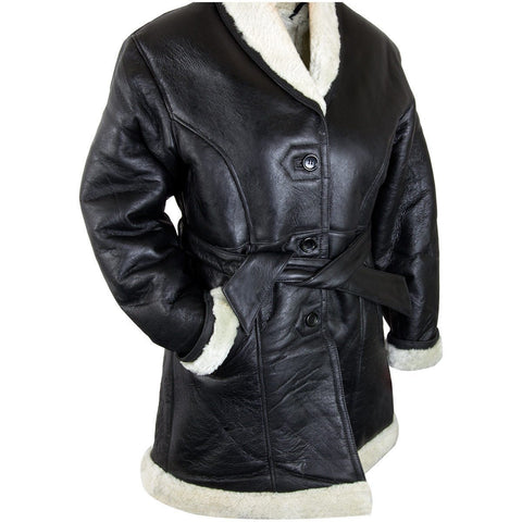 Ladies Lucky Leather 111S Black Leather Long Shearling Coat with Belt