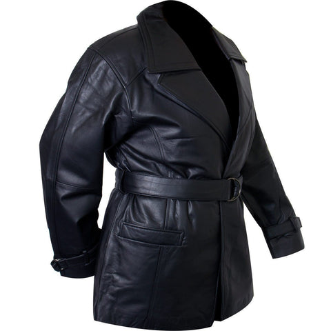 Image of Ladies Lucky Leather 116 Cowhide Leather Coat with Double Lapel Collar