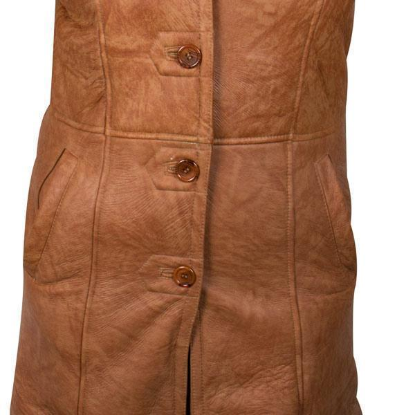 Ladies Lucky Leather 1319 Rusty Brown Color Long Shearling Coat