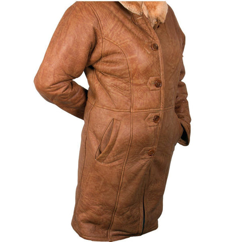 Image of Ladies Lucky Leather 1319 Rusty Brown Color Long Shearling Coat