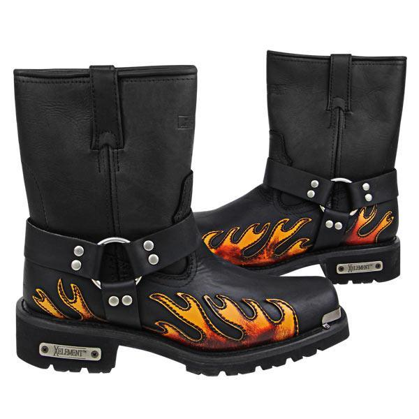 Xelement 1490 Men's Black Harness Motorcycle Boots with Flame