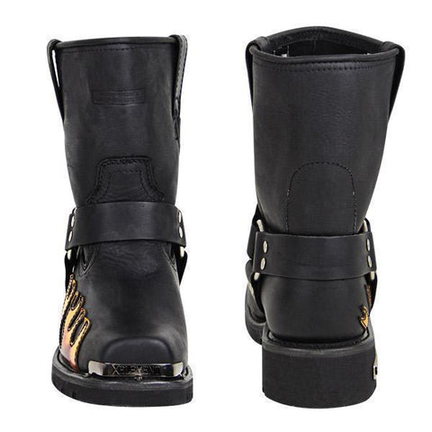 Image of Xelement 1490 Men's Black Harness Motorcycle Boots with Flame