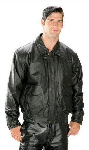 Image of USA Leather 'Classic Aviator' Men's Black Leather Jacket
