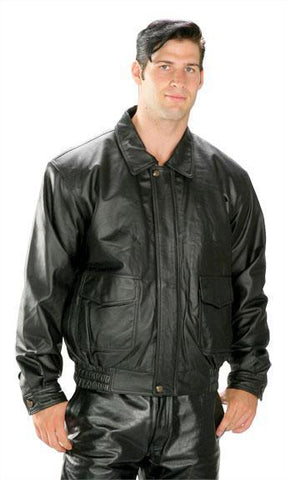 USA Leather 'Classic Aviator' Men's Black Leather Jacket
