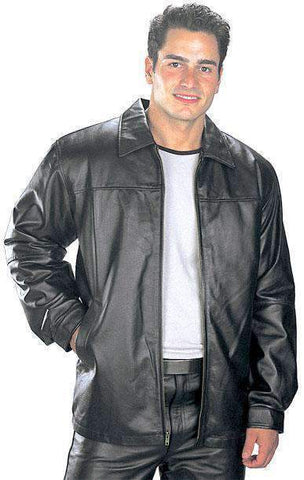 Image of USA Leather 'Classic' Mens Black Leather Hip Length Jacket