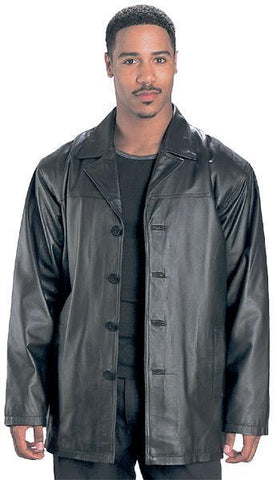 USA Leather 'Classic' Mens Black Leather Coat