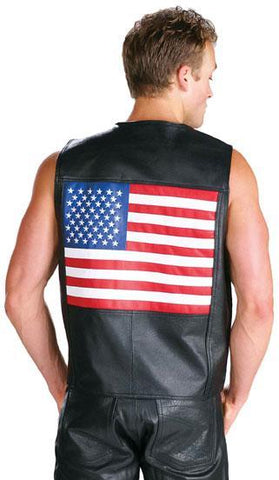 Men's 202-Flag US American Flag Leather Vest by USA Leather