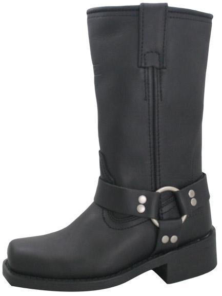 Xelement 2442 'Classic' Women's Black Full Grain Leather Harness Motorcycle Boots