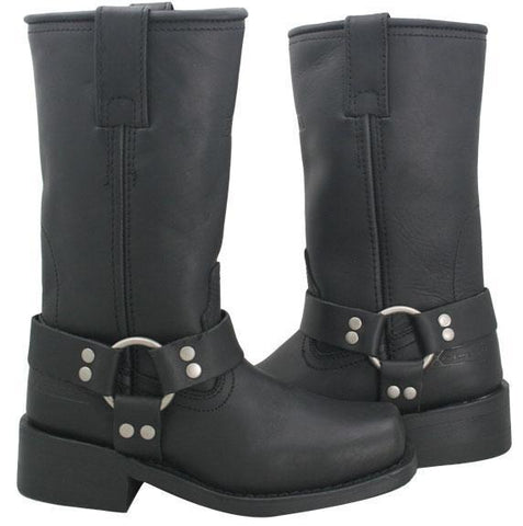 Image of Xelement 2442 'Classic' Women's Black Full Grain Leather Harness Motorcycle Boots