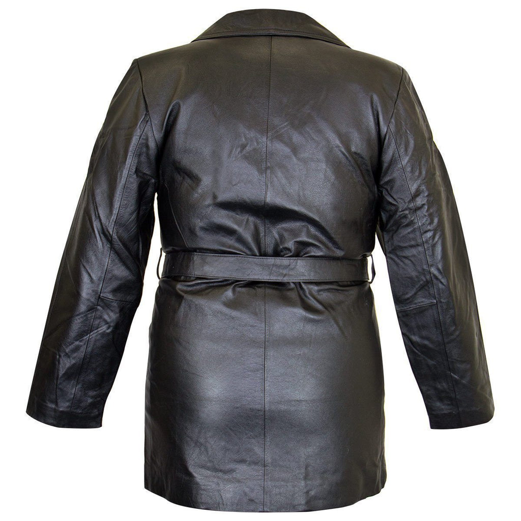 Ladies Lucky Leather 248 Cowhide Leather Coat with 3 Button Closure and Belt