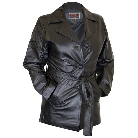 Image of Ladies Lucky Leather 248 Cowhide Leather Coat with 3 Button Closure and Belt