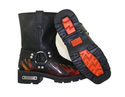 Image of Xelement 2490 Women's Black Harness Motorcycle Boots with Flame