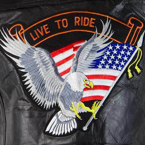 Image of M Collection 287309 'Live To Ride' Men's Black Leather Vest