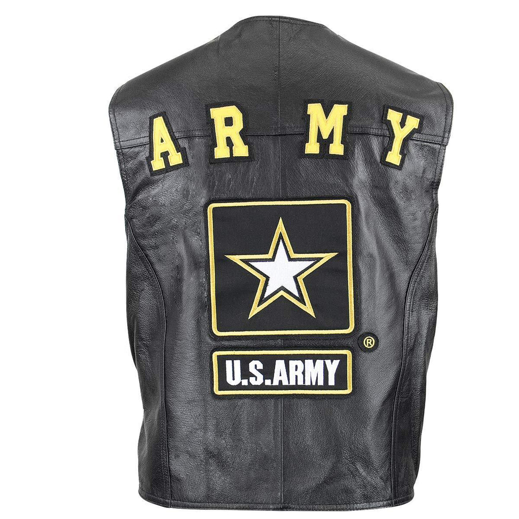 USA 3001 Leather Men's Military Army Officially Licensed Product Black Leather Vest