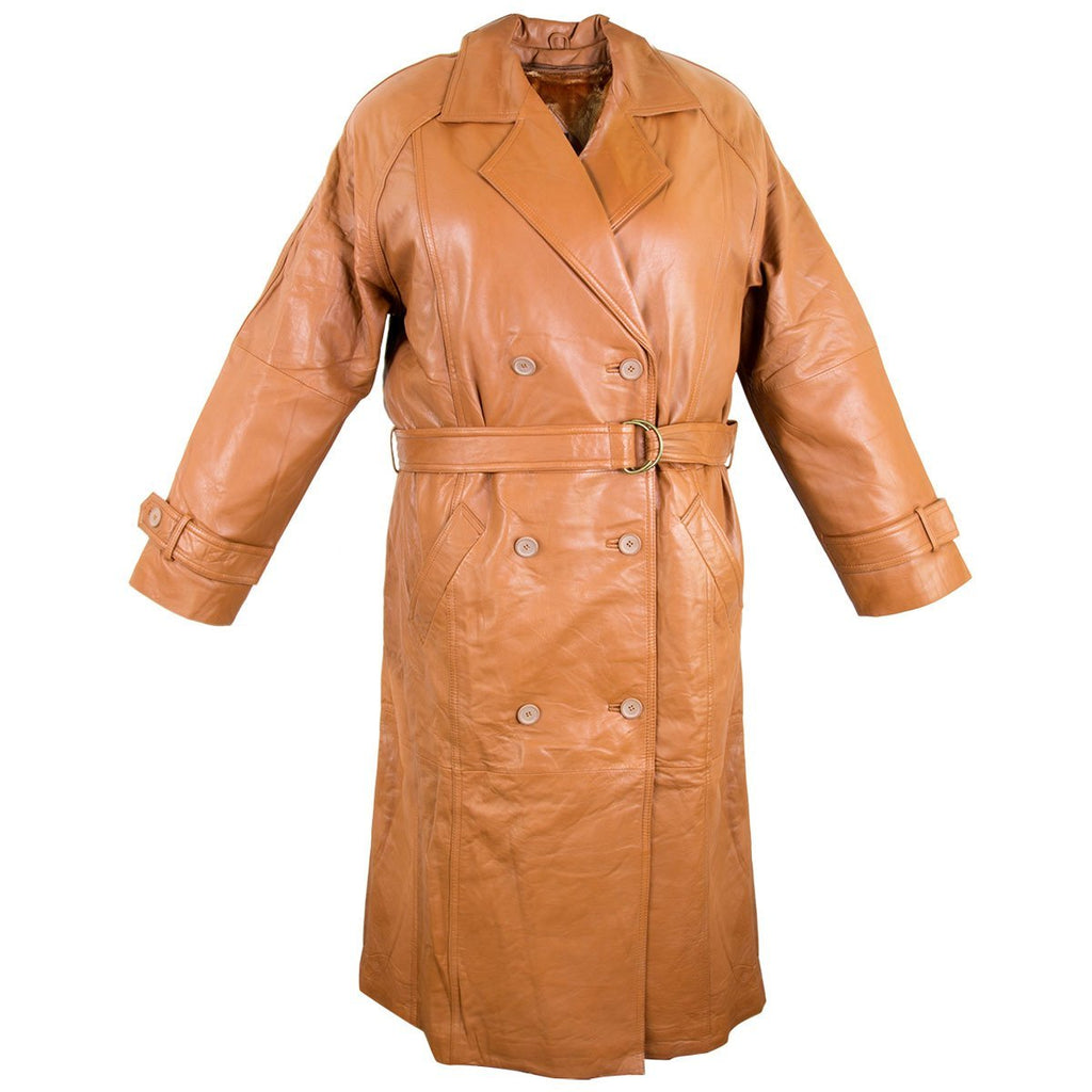 Mens Lucky Leather 326 Soft Touch Lambskin Brown Cognac Leather Trench Long Coat