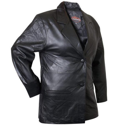 Ladies Lucky Leather 418 Lambskin Leather Blazer with Double Button Closure
