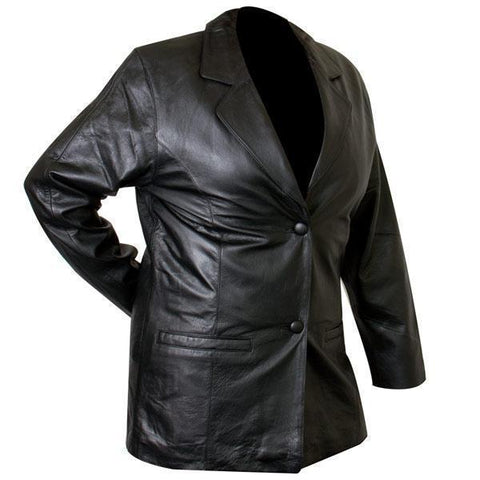 Ladies Lucky Leather 418-C Cowhide Leather Blazer with Double Button Closure