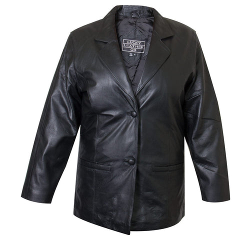 Image of Ladies Lucky Leather 418-C Cowhide Leather Blazer with Double Button Closure