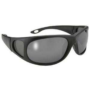 Pacific Coast Mens Strike Black Sunglasses with Polarized Grey Lens and UV 400 Protection