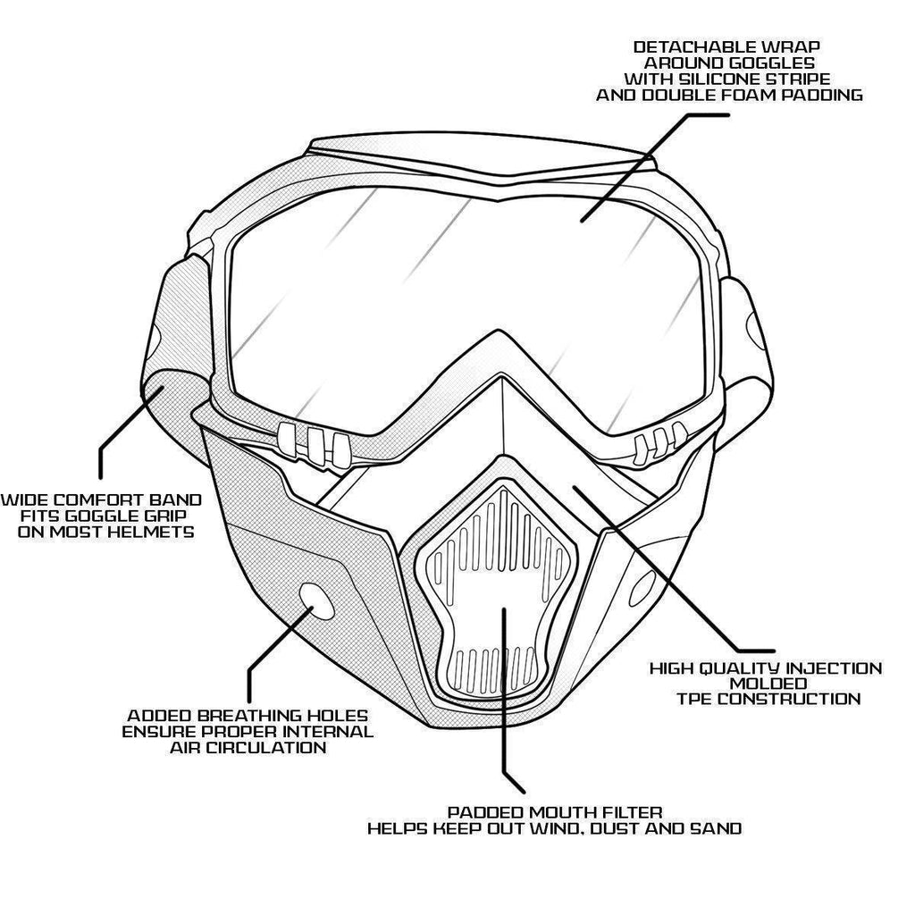 Outlaw 50 Nemesis Vintage Face Mask with Detachable Motorcycle Goggles and UV 400 Lens