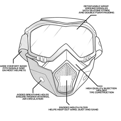 Image of Outlaw 50 Nemesis Vintage Face Mask with Detachable Motorcycle Goggles and UV 400 Lens