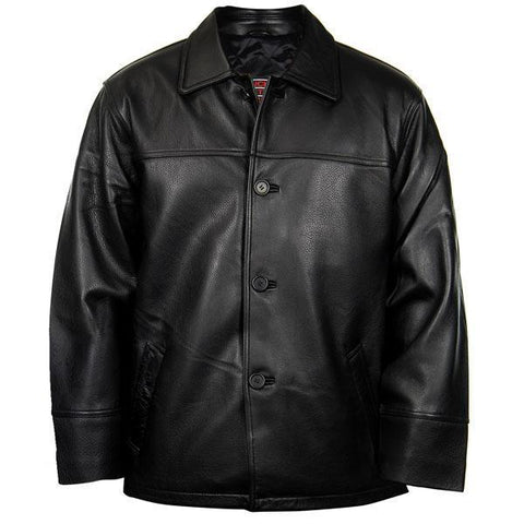 Lucky Leather 747C Men's Black Cowhide Leather Car Coat